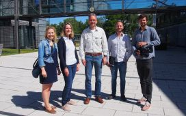 Eurice and film team with Professor Ralph Bock