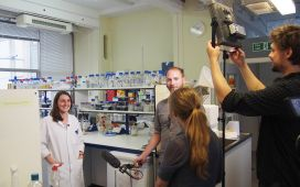 Filming with Marilise at RHUL labs